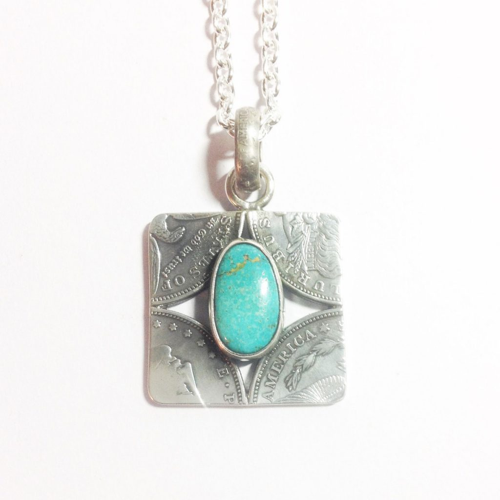 ノースワークスSquare Patchwork With Turquoise Pendant