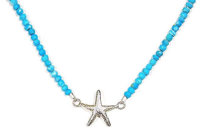 chibi jewels シルバー星型ひとでモチーフ 天然石ターコイズネックレス