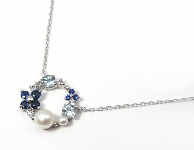 真珠とサファイアのバランスがいい、サファイアネックレス