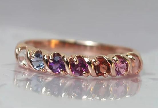 天然石、ピンクゴールド指輪